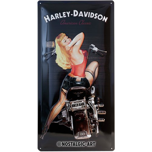 Harley Davidson Biker Babe large metal sign 20