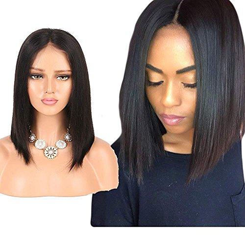 Yingcai Hair Lace Front Wigs For Women Silky Straight Brazilian Virgin Human Hair Short Bob Wigs Glueless Lace Wigs 130% Density (10inch)