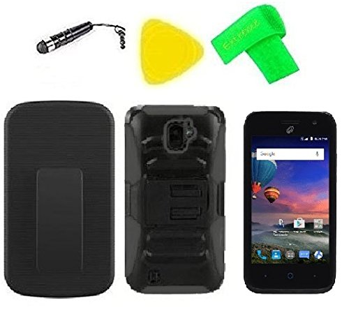 Belt Clip Holster w Phone Cover Case Accessory + Screen Protector + Extreme Band + Stylus Pen + Pry Tool For ZTE Citrine LTE Z716BL Z717VL (Belt Clip Holster Black/Black)