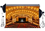 Gladbuy Vinyl 7X5FT Luxurious Conference Hall Backdrop Elegant Cinema Theatre Golden Shining Stage Lights Interior Photography Background for Adults Show Decoration Wallpaper Photo Studio Props KX454