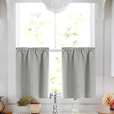 Gray Tier Curtains Room Darkening Window Treatment Thermal Insulated Tier Curtain Set Rod Pocket Drapes Tier Curtain for Kitchen Living Room 34W by 36L inches Grey 1 Pair