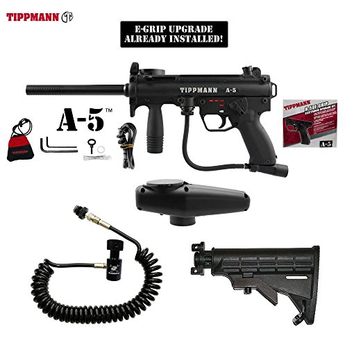 Tippmann A-5 w/ Selector Switch E-Grip Paintball Gun + Standard Remote Coil & Stock Combo Package - Black (Automatic Coil Selector)