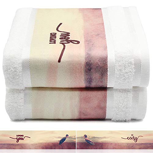 Bath Towels 2 Pack -  Luxury Cotton Pool Towels and Swim Towels, Personalized Towels with Printing, Beach Towels for Lovers | Anniversary | Valentine's, White, 27'' x 55''