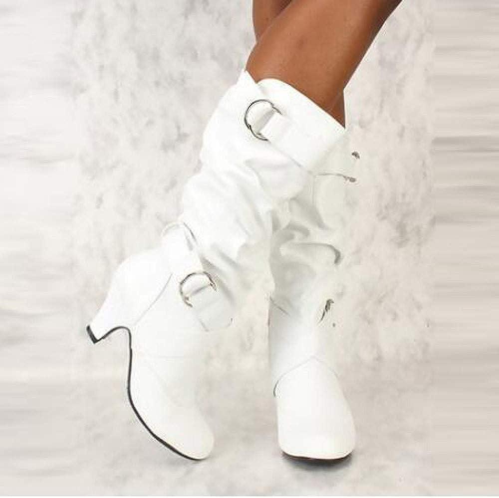 YiYLunneo Women Knee High Kitty Heels Wide Shaft Boots Chunky Heel Motorcycle Military Combat Boots