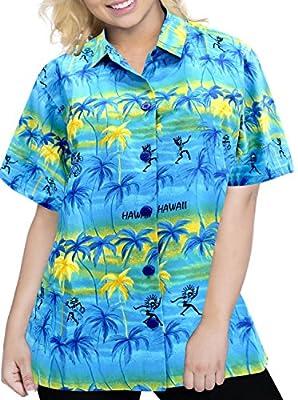 LA LEELA Top Women Hawaiian Shirt Beach Tank Blouses Casual Aloha Holiday Boho Button Up