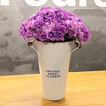 Amazon situmi artificial fake flowers hydrangea suite decorated situmi artificial fake flowers hydrangea suite decorated purple white flower buckets home accessories mightylinksfo