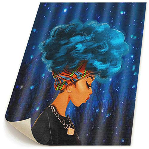 Ale-art 16x20 HD Printed Frameless Blue Hair African Women Canvas Paintings Abstract Home Decoration for Living Room Bedroom Bathroom