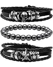 MILAKOO 10 Pcs Men Leather Bracelet Punk Braided Rope Alloy Bracelet Bangle Wristband
