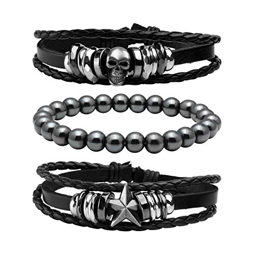 (MILAKOO 3 Pcs Braided Leather Bracelets for Men Women Punk Beads Bracelets Adjustable)