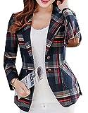 Oberora-Women Long Sleeves OL Business Plaid Formal Blazer Red XXL