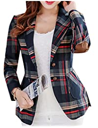 Fubotevic Womens Long Sleeves OL Business Plaid Formal Blazer