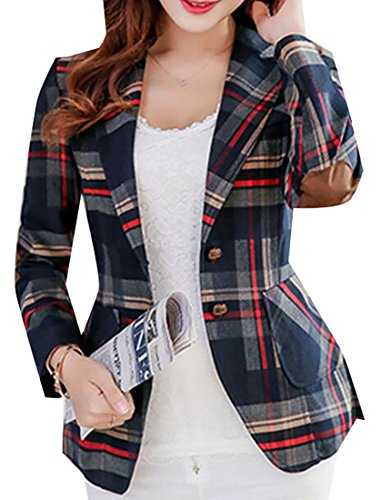 Oberora-Women Long Sleeves OL Business Plaid Formal Blazer Red M