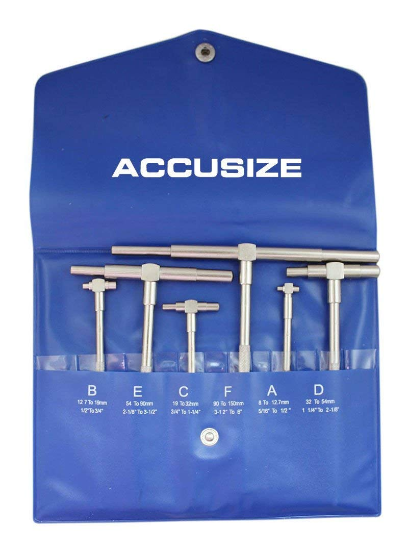 Accusize Industrial Tools 6 Pc Ultra-Precision Outside Micrometer Set Plus a Portable Micrometer Stand and a 6pc Telescoping Gauge Set 0906-C153