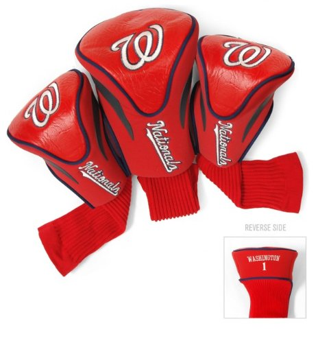 Team Golf MLB Washington Nationals Contour Golf Club Headcovers (3 Count), Numbered 1, 3, & X, Fits Oversized Drivers, Utility, Rescue & Fairway Clubs, Velour lined for Extra Club Protection