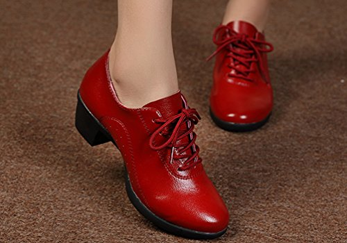 Tanzschuhe Farbe Dance Rot up YouPue Solide Verfolgte Leder Herbst PU Lace Damen Latin Schuhe Niedrig w1xOqYU1