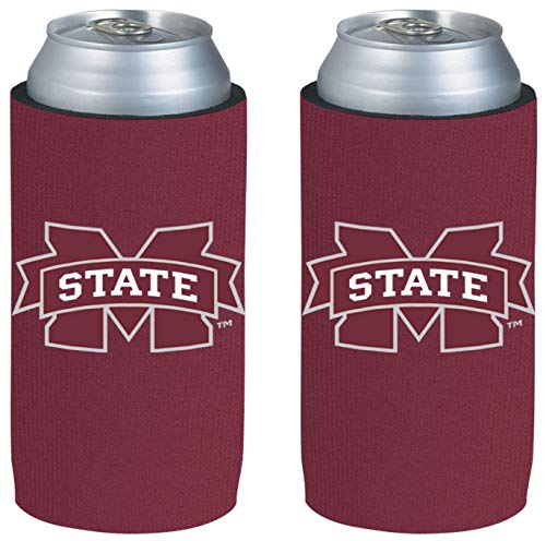 NCAA College Ultra Slim Beer Can Holder Cooler 2-Pack (Mississippi State Bulldogs) (Best Beers By State)