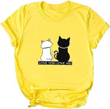 Camiseta de moda para mujer, diseño de gatos con texto en inglés «Love You Love ME», para el día de San Valentín: Amazon.es: Ropa y accesorios
