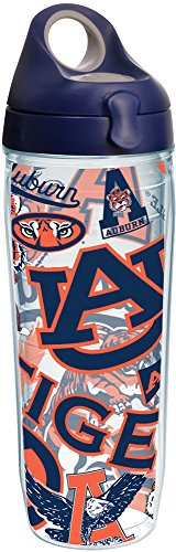 Tervis 1252333 Auburn Tigers All Over Insulated Tumbler with Wrap and Navy with Gray Lid, 24oz Water Bottle, (Auburn Tigers Insulated Bottle)