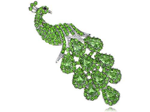 Peachick Costume (Alilang Fancy Synthetic Peridot Green Crystal Rhinestone Peacock Bird Fashion Jewelry Pin Brooch)