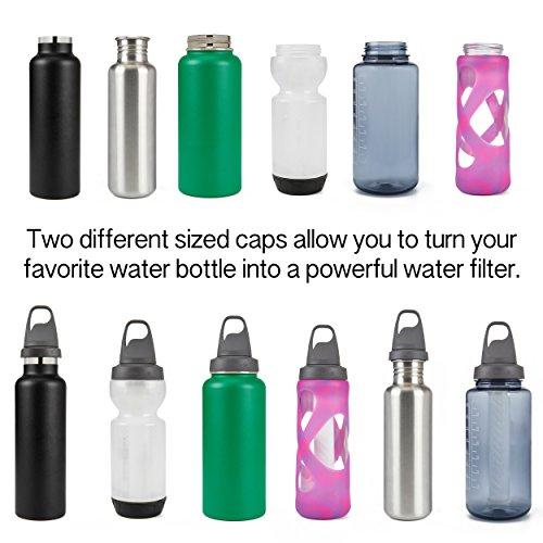 LifeStraw Universal Water Filter Bottle Adapter Kit Fits Select Bottles from Hydroflask, Camelbak, Kleen Kanteen, Nalgene and More