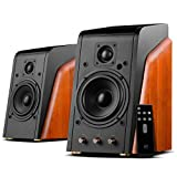 Swans Speakers-M200MKIII+-Powered 2.0 Bluetooth Bookshelf Speaker-HiFi speaker- 1.1''Dome Tweeters-5.25''MidbassDriver-Solid Wood Cabinet-Highly Detailed Playback of Vocals-RMS 120W-2 Year Warranty