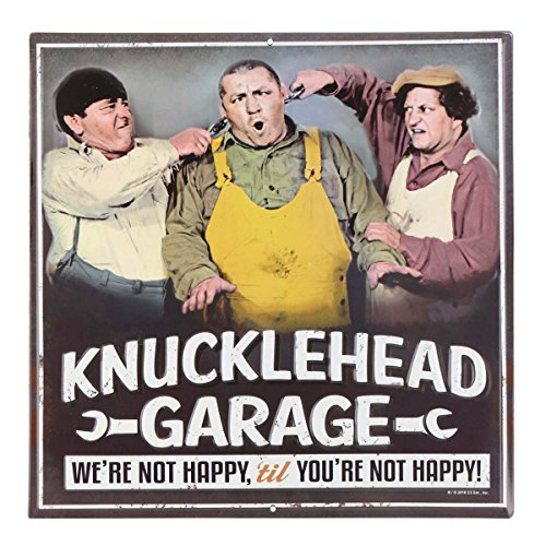 - Open Road Brands Three Stooges Garage Embossed Tin Sign Garage Décor, 12