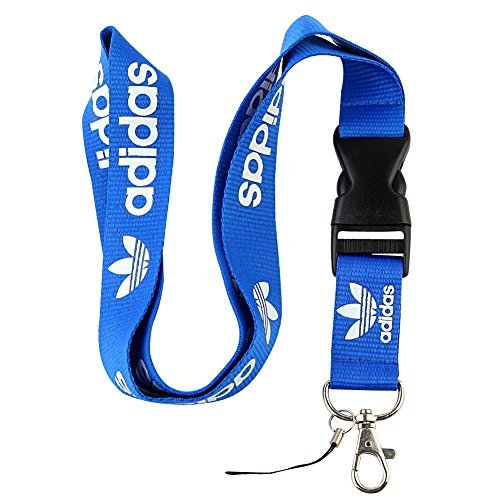 Blue & White Logo Keychain Key Chain Black Lanyard Clip with Webbing Strap Quick Release Buckle (PCK-014) -