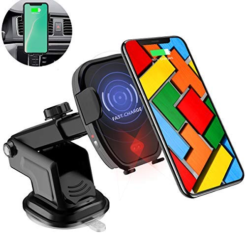 Wireless Car Charger with Automatic Sensor, Qi 10W Fast Wireless Charger Car Mount & Holder Compatible for Samsung Galaxy Note 9 S9/S9 Plus,7.5W for iPhone X/Xs/XS Max/XR/8/8 Plus All Qi-Enabled Phone