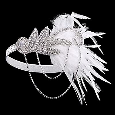 BABEYOND Women's Flapper Feather Headband 1920s Headpiece Vintage Hair Accessories Crystal Headband