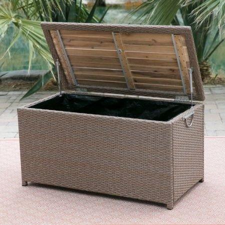 Deck Box Patio Storage, W/Acacia Top, Resin Wicker, Light Brown