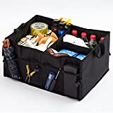 Car Trunk Storage Organizer for SUV, Vehicle, Truck, Auto, Minivan, Home, Heavy Duty Collapsible Durable Construction Non-Skid Bottom Black, with 3 Compartments, Side Pockets and Velcro