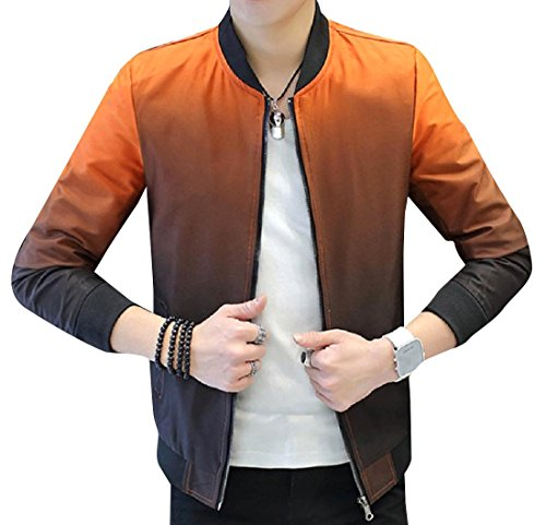 Jacket Orange Original Handsome Fit Zip Ombre Closure Bomber Men's RkBaoye wRq8PP