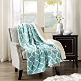 Comfort Spaces HE10-547 Sherpa/Plush Blanket for Couch-50x60 inches Lightweight Cozy Sofa Couch Throw for Beds Office Lap Ogee- Ogee, Aqua