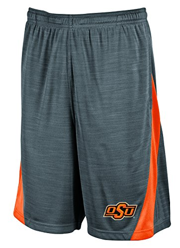 NCAA Oklahoma State Cowboys Men's Boosted Stripe Color Blocked Training Shorts, X-Large, Gray