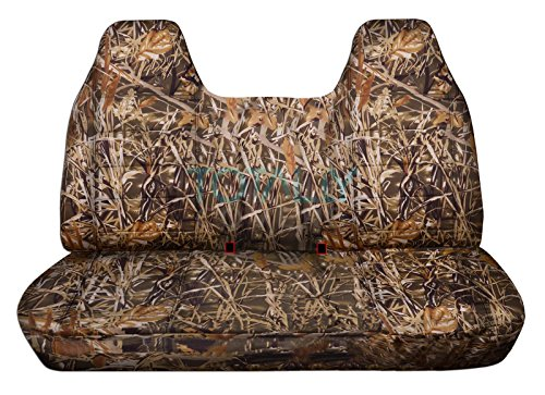 F350 Camo - Totally Covers Fits 1992-1998 Ford F-150 F-250 F-350 Camo Truck Seat Covers (Front/Rear Solid Bench) w/wo Separate Headrests/Armrest: Wetland 1993 1994 1995 1996 1997 F-Series F150 F250 F350