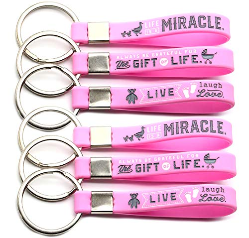 (12-Pack) Baby Shower Keychain Favors for Girls - Wholesale Bulk Pack of 1 Dozen Key Chains for Girl Baby Shower - Party Favors Supplies Gifts Goodie Bag Items for Guests (Pink/Baby Girl)