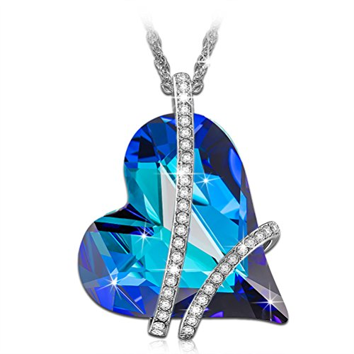 Susan Y Sweet Heart Necklace for Women Blue Heart 925 Sterling Silver Crystal from Swarovski Jewellery Gift Box Packing, Nickel Free Passed SGS Test Best Choice