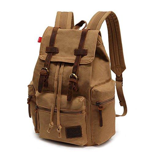 for Backpack Laptop Augur Leather Khaki Daypacks Men Backpack Series Casual Rucksack P Canvas Women Backpack KU Canvas A VDSL Vintage AqSO7q