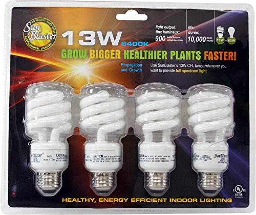 SunBlaster 13 Watt CFL Grow Lamp 4 pack by SunBlaster