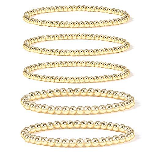Gold Bead Bracelet for Women,14K Gold Plated Bead Ball Bracelet Stretchable Elastic Bracelet (Style-1)…