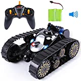 SGILE Remote Control Tanks Car - 360° Flip Stunt RC Tank with LED Lights and Music, Gift for Kids Boys Children