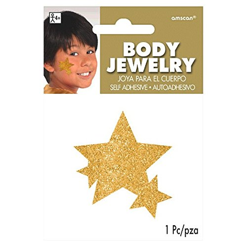 Amscan Game Ready Team Spirit Party Spirit Glitter Star Body Jewelry Accessory, 1 Pieces, Made from Paper, Birthday/Celebration, 5 X 3 (Cheer Body Glitter)