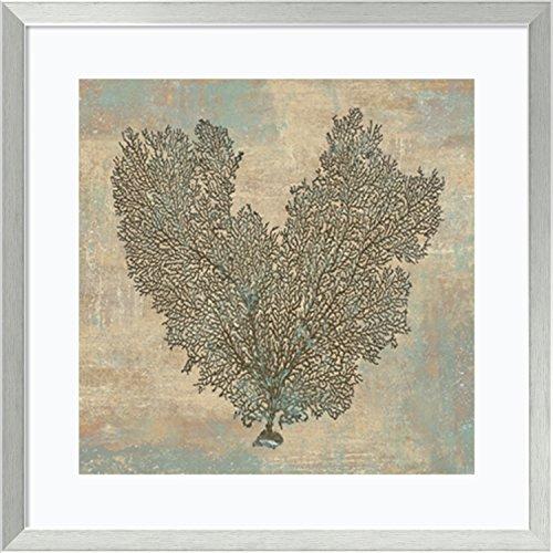 Fan Aqua Print (Framed Art Print, 'Aqua Fan Coral' by Caroline Kelly: Outer Size 27 x 27