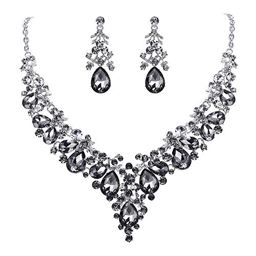 (EVER FAITH Women's Crystal Bridal Banquet Floral Cluster Teardrop Necklace Earrings Set Grey)