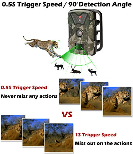 Game Trail Camera 1080P 12MP with Sound Scouting Camera with 24in LCD Screen No Glow Black Infrared Night Vision 05s Trigger Speed IP66 Waterproof for Wildlife Hunting Monitoring and Farm Security Game Trail Cameras