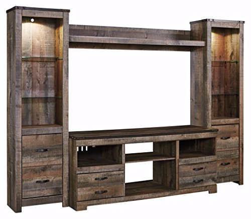 Ashley Furniture Signature Design - Trinell Entertiainment Bridge - Rustic Style - Brown