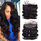 Wigirl Hair Free Part Ear To Ear 13''x4'' Full Lace Frontal Closure Body Wave Unprocessed Brazilian Virgin Human Hair Top Extensions Natural Color (Lace Frontal Closure 18inch)