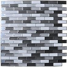 "Art3d Peel and Stick Wall Tile for Kitchen / Bathroom Backsplash, 12""x12"", Grey-White (6 Pack)"