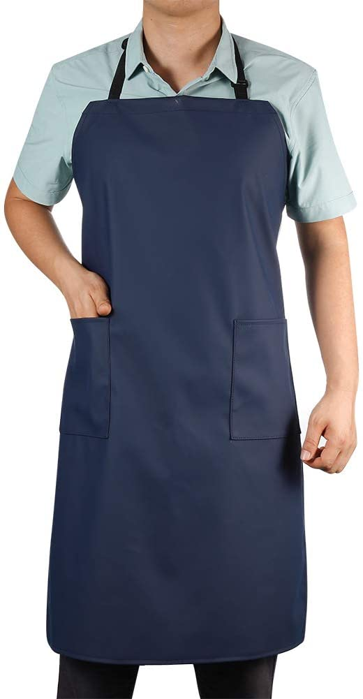 Waterproof Rubber Vinyl Apron with 2 Pockets - Chemical Resistant Work Cloth - Adjustable Bib Butcher Apron - Best for DishWashing, Lab Work, Butcher, Dog Grooming, Cleaning Fish (Blue)