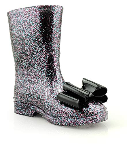 JELLY BEANS Girls Glitter Waterproof Rain Boots with Bow Black Size - Bean Girl Jelly